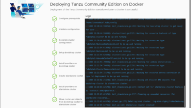 Tanzu Community Edition standalone cluster installation completes successfully