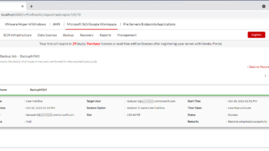 Viewing the Microsoft 365 recovery report once data has been recovered successfully