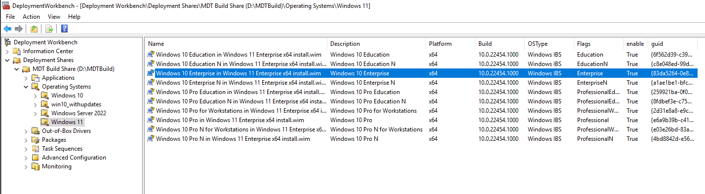 Viewing the imported Windows 11 images imported with the import process in MDT
